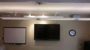 Board room with 60 inch tv and sound system